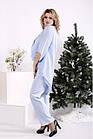 Блакитний костюм жіночий урочистий великого розміру: блуза і брюки 42-74. 01693-3, фото 2