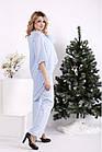Блакитний костюм жіночий урочистий великого розміру: блуза і брюки 42-74. 01693-3, фото 3