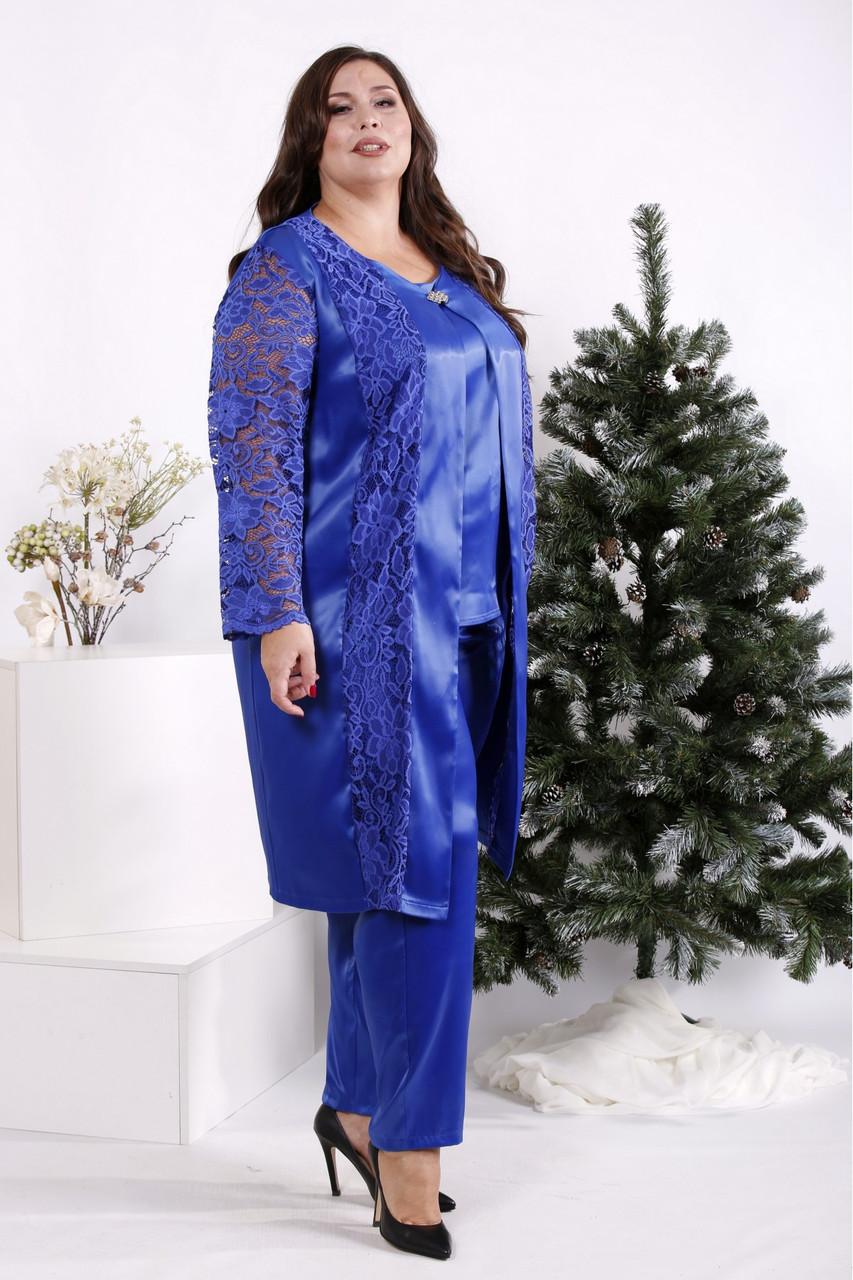 Костюм электрик-тройка женский вечерний большого размера: блузка, брюки и накидка 42-74. 01691-2