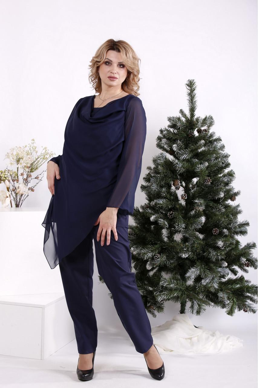 Темно-синий костюм женский праздничный батал: брюки и длинная блузка 42-74. 01690-3