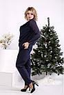 Темно-синій костюм жіночий святковий батал: штани і довга блузка 42-74. 01690-3, фото 2