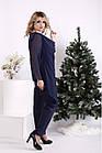 Темно-синій костюм жіночий святковий батал: штани і довга блузка 42-74. 01690-3, фото 3