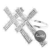 Кольцо Элегантные Кресты на два пальца. Бижутерия в розницу . Минимальные цены., фото 2