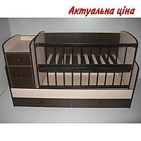 Детская кроватка-трансформер Baby Sleep Angela DTP-S-B Nussbaum Dunkel & Elfenbein(шоколад/слоновая кость)
