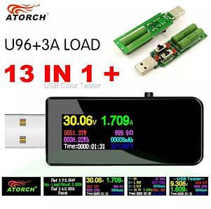 Багатофункціональний USB тестер Atorch U96 + навантажувальний резистор 3А