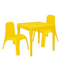 Детский стол для творчества + 2 стула Желтый 18-100-22, КОД: 1130275