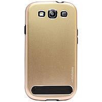 Бампер алюминиевый для Samsung Galaxy S3 i9300 - Motomo TPU Metal case, (золотой)
