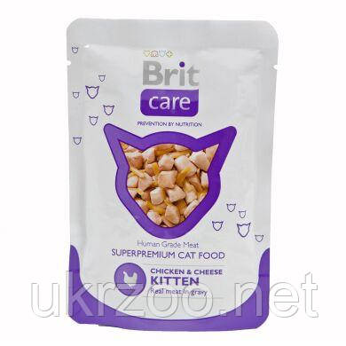 Влажный корм для котят Brit Care Cat Chicken & Cheese Kitten pouch 80 г (курица и сыр) 100122