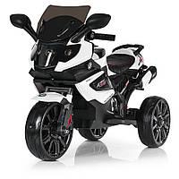 Детский электромобиль Мотоцикл M 3986 EL-1, кожаное сиденье, колеса EVA, белый