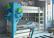 Детская кровать чердак с декоративным деревом ДКЧ 615