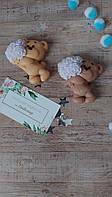 Мыло в подарок. Медвежонок с букетом. Оригинальный подарок для девушки. Мыло- валентинка