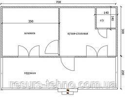 Проект дачного будиночка 7м х 3м