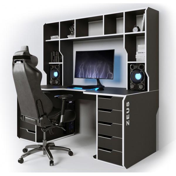 Геймерский эргономичный стол ZEUS™ Viking-3S, 160х85 (80) см, белый/черный