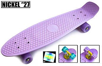 """Оригинальный пенниборд с увеличенной декой и подсветкой колес (Penny Board) Nickel 27"""" Лиловый цвет"""