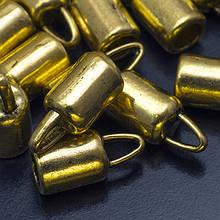 Концевики Для Шнура, Металл, Цвет: Античное Золото, Размер: 14х6.5мм, Внутренний Диаметр 4.2мм, Отв-тие 2мм, (УТ0016963)