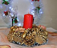 Подсвечник новогодний Золотой средний