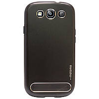 Бампер алюминиевый для Samsung Galaxy S3 i9300 - Motomo TPU Metal case, (черный)