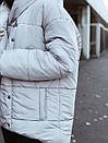Пуховик с капюшоном прошитый серый, фото 3
