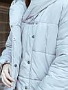 Пуховик с капюшоном прошитый серый, фото 4