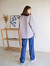 Рубашка из пальтовой ткани с поясом ROMASHKA лиловая, фото 6