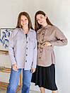 Рубашка из пальтовой ткани с поясом ROMASHKA лиловая, фото 7