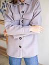 Рубашка из пальтовой ткани с поясом ROMASHKA лиловая, фото 8