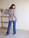 Рубашка из пальтовой ткани с поясом ROMASHKA лиловая, фото 9