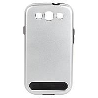 Бампер алюминиевый для Samsung Galaxy S3 i9300 - Motomo TPU Metal case, (серебристый)