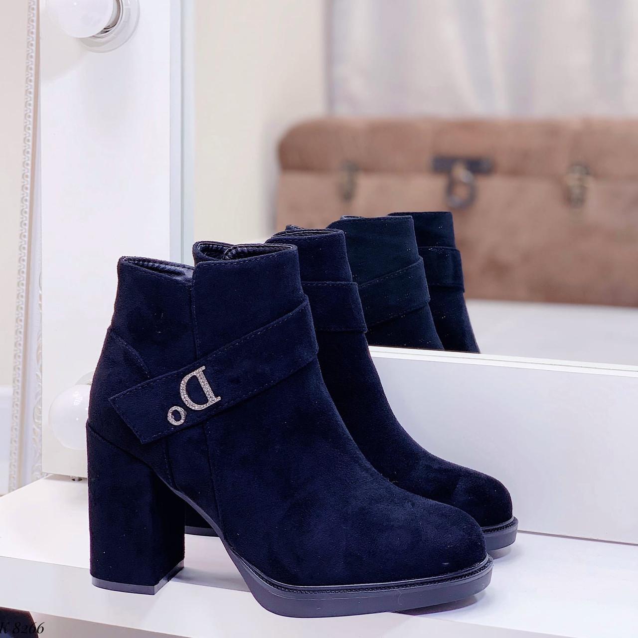 36р. Ботинки женские деми черные замшевые на высоком каблуке демисезонные из искусственной замши черного цвета