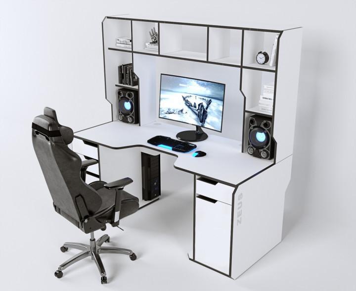 Геймерский эргономичный стол ZEUS™ Viking-4М, 180х85 (80) см, белый/черный