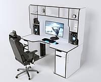 Геймерский эргономичный стол ZEUS™ Viking-4М, 180х85 (80) см, белый/черный, фото 1