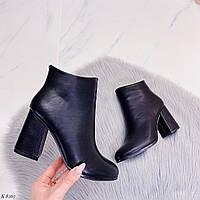 37 р. Ботильоны ботильены женские деми черные на высоком каблуке демисезонные из искусственной кожи кожаные, фото 1