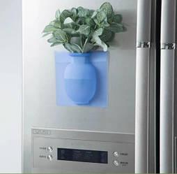 Силиконовая настенная ваза для цветов Arivans 15x15x2 см Синий