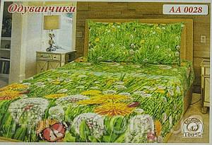 """Двуспальні комплекти Одуванчики на зеленом """"Тиротекс"""" - оптом"""