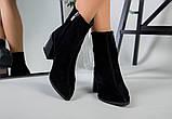 Ботильоны женские замшевые черные с расклешенным каблуком зимние, фото 2
