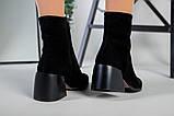 Ботильоны женские замшевые черные с расклешенным каблуком зимние, фото 3