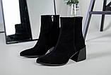 Ботильоны женские замшевые черные с расклешенным каблуком зимние, фото 9
