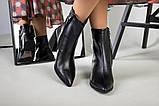 Ботильоны женские кожаные черные с расклешенным каблуком, зимние, фото 2