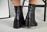 Ботильоны женские кожаные черные с расклешенным каблуком, зимние, фото 3