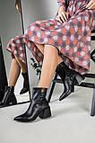 Ботильоны женские кожаные черные с расклешенным каблуком, зимние, фото 5