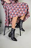 Ботильоны женские кожаные черные с расклешенным каблуком, зимние, фото 8
