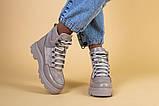Ботинки женские замша и кожа, бежевые, на шнурках, зимние, фото 2