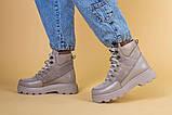Ботинки женские замша и кожа, бежевые, на шнурках, зимние, фото 3