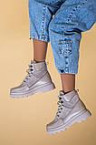 Ботинки женские замша и кожа, бежевые, на шнурках, зимние, фото 4