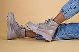 Ботинки женские замша и кожа, бежевые, на шнурках, зимние, фото 5