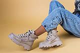 Ботинки женские замша и кожа, бежевые, на шнурках, зимние, фото 6