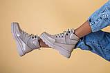 Ботинки женские замша и кожа, бежевые, на шнурках, зимние, фото 7