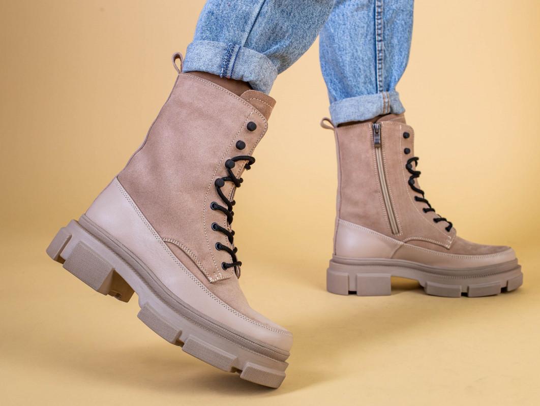 Ботинки женские замшевые бежевые с кожаной вставкой, зимние