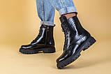 Ботинки женские кожа питон черные зимние, фото 3