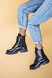 Ботинки женские кожа питон черные зимние, фото 4